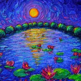 BLUE NIGHT MOON ON WATERLILIES LAKE textural impasto palette knife oil painting Ana Maria Edulescu by Ana Maria Edulescu