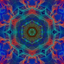 Blue Orange Red Cyan  Flame Portal to Eternity by Shapes Mania