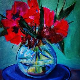 Blue plate of flowers by Ger Hoey