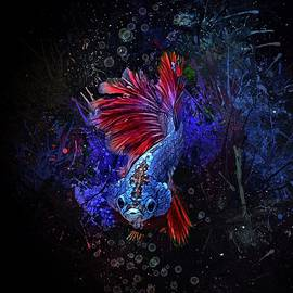 Blue Red Tail Betta Fish Vertical Portrait  by Scott Wallace Digital Designs