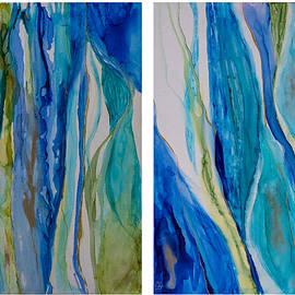 Blue Rythms Diptych by Mary Benke