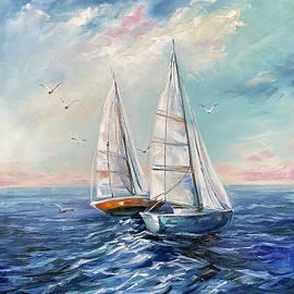 Blue Seascape Oil Painting, Boat Wall Art, Original Ship Ocean Waves Painting, Nautical Home Decor  by BilykArt