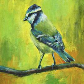 Blue tit bird portrait painting by Karen Kaspar
