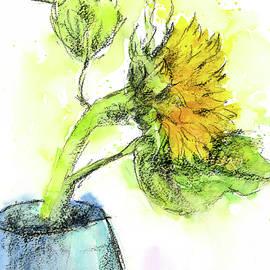 Blue vase with yellow sunflower by Karen Kaspar