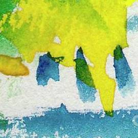 Blue Yellow Green Watercolor Abstract by Sarah Niebank Abstract Expressionism