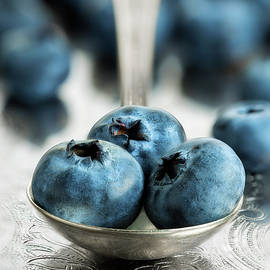 Blueberries On Silver by John Rogers