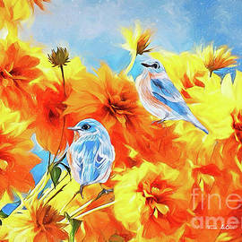 Bluebirds In The Chrysanthemums by Tina LeCour
