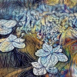 Bluish Waterlilies Abstract by Sandi OReilly