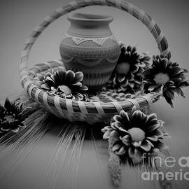 Black and White Wicker Basket  by Suzanne Wilkinson