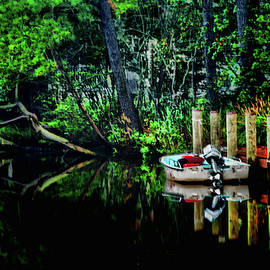 Boat at dock on the Loop Canal by Bill Jonscher