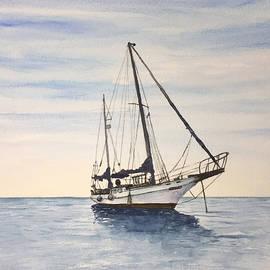 Boat on sea. by Erkin YILMAZ