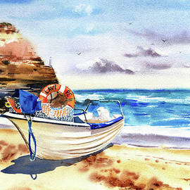 Boat On Shore in Portugal Painting by Dora Hathazi Mendes