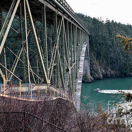 Boat Under Deception Pass Bridge by Sea Change Vibes
