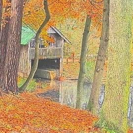 Boathouse in Fall Season by Loretta S