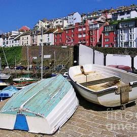 Boats On The Slipway, Brixham Harbour, Devon UK by Lesley Evered