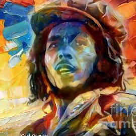 Bob Marley Abstract  by Carl Gouveia