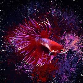 Bold Neon Red Crowntail Betta by Scott Wallace Digital Designs