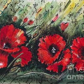 Bold Red Poppies by Angela Gannicott