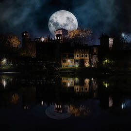 Full moon over the medieval town Turin Italy by Rita Di Lalla