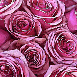 Bouquet of Pink Roses Pop Art by Maria Keady