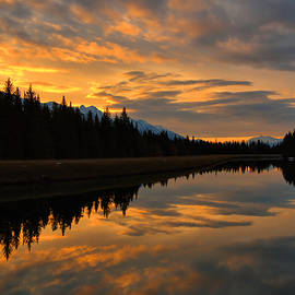 Bow River Sunrise Reflections - Banff by Stephen Vecchiotti