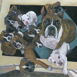Boxer Mom and Pups by Nadi Spencer