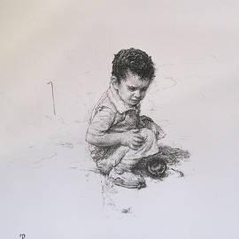 Boy playing by David Beglaryan