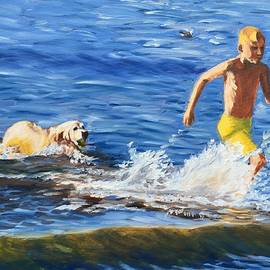 Boy, sea and a wet dog by Elena Sokolova