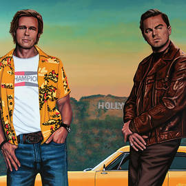 Brad Pitt and Leonardo DiCaprio in Hollywood Painting by Paul Meijering