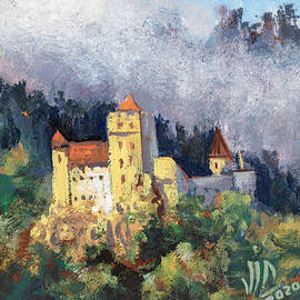 Bran Castle , Romania painting on leather by Vali Irina Ciobanu by Vali Irina Ciobanu