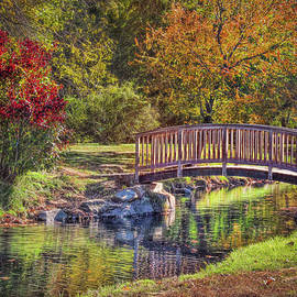 Bridge in spring at Binney Park in Greenwich, Connecticut by Cordia Murphy