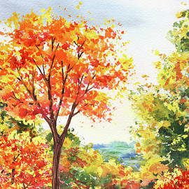 Bright Colorful Fall Vivid Watercolor Landscape  by Irina Sztukowski