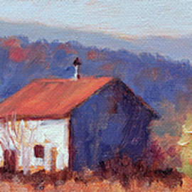 Bright October - Old Barn with Blue Ridge Mountains in Autumn by Bonnie Mason
