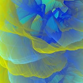 Bright Yellow Teal Indigo Abstract Smoke by Ludmila Bashkansky