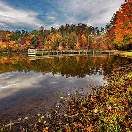 Brilliant Autumn Colors at the Lake by Debra and Dave Vanderlaan