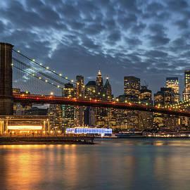 Brooklyn Bridge Blue Hour Sunset by Andrew Kaslick