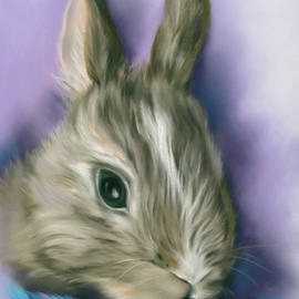 Brown Bunny in a Blue Basket by MM Anderson