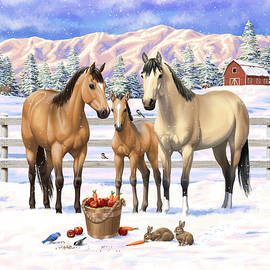 Buckskin Quarter Horses In Snow by Crista Forest