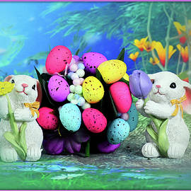 Bunnies With Colored Eggs by Constance Lowery