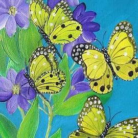 Butterflies and Purple Clematis by Karen Jane Jones