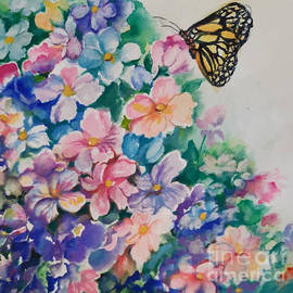 Butterfly and Flowers  by Farideh Haghshenas