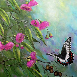 Butterfly and gum blossoms by Debra Dickson