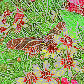 Butterfly In Garden Abstract by Robert Tubesing