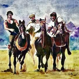 Buzkash players by Khalid Saeed
