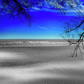 BW Beach and Color Sky by TJ Baccari