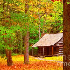 Cabin In Autumn by Maxine Billings