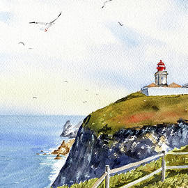 Cabo Da Roca Lighthouse Painting by Dora Hathazi Mendes