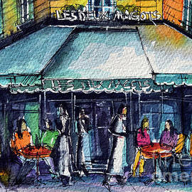 CAFE DE PARIS watercolor painting Mona Edulesco by Mona Edulesco