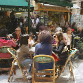 Cafe Scene in France by Dominique Amendola