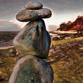 Cairns Beaches Queensland Stone Cairn Rustic 1 of 2 by Joan Stratton